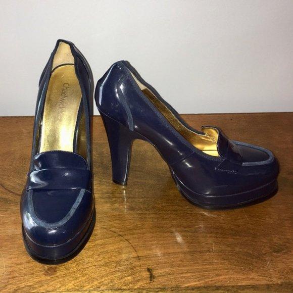 Chadwick's Blue Platform Loafer Heels Size 7.5